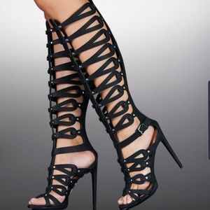 JustFab Shoes - Justfab Gladiator Heels Luxe Messalina Stiletto